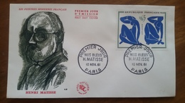 Premier Jour  FDC.. .HENRI  MATISSE .. 1961 .. NUS  BLEUS .. PARIS - Other