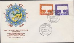 1957. EUROPA - CEPT. 20 + 35 Fr. FDC SAARBRÜCKEN 16. 9. 57 Ersttag (MICHEL 402-403) - JF310451 - Lettres & Documents