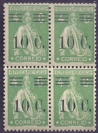 Portugal 1928-29 Ceres Surcharged In Black - Ceres Com Sobertaxa Block Of 4 MNH - Posta