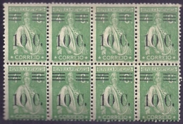 Portugal 1928-29 Ceres Surcharged In Black - Ceres Com Sobertaxa Block Of 8 MNH - Posta