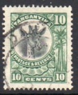Tanganyika GV 1922-4 'Giraffe' Definitive 10c Green Value, Used, SG 75 (BA) - Tanganyika (...-1932)