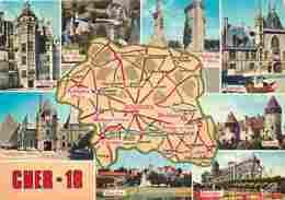 18 - Cher - Multivues - Carte Géographique - Voir Scans Recto-Verso - France