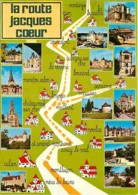 18 - Cher - Route De Jacques Coeur - Multivues - Carte Géographique - Voir Scans Recto-Verso - France