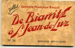 CARNET COMPLET DE 20 CARTES - DE BIARRITZ A ST JEAN DE LUZ  POSTALES ARTISTIQUES - CORNICHE FRANCAISE BASQUE - Biarritz