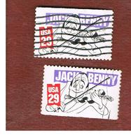 STATI UNITI (U.S.A.) - SG 2607  -    1991 COMEDIANS: J. BENNY   (2 DIFFERENT PERFORATIONS)       -   USED - Used Stamps