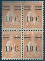 Portugal 1928-29 Ceres Surcharged In Black - Ceres Com Sobertaxa Block Of 4 MNH - Post