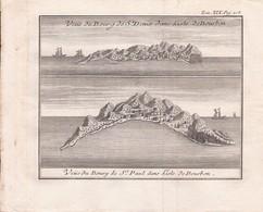 Ile De La Réunion Gravure De 1781 Vue De Bourg De Saint-Denis Dans L'isle De Bourbon Et Vue Du Bourg De Saint-Paul - Prints & Engravings