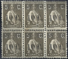 Portugal 1928-29 Ceres Surcharged In Black - Ceres Com Sobertaxa Block Of  6 MNH - Post
