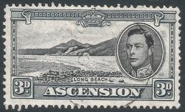Ascension. 1938-53 KGVI. 3d Used P13. SG 42b - Ascension (Ile De L')