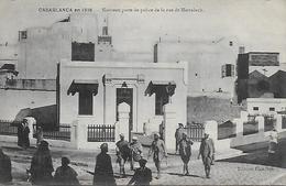 Maroc)  CASABLANCA En 1916 Nouveau Poste De Police Et La Rue De Marrakech - Casablanca