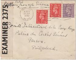 ESC -> Croix Rouge Genève Suisse, Censure Anglaise 1943 - Postmark Collection