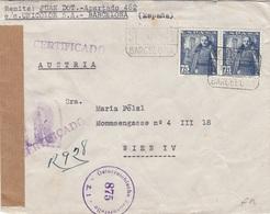 SPANIEN R-Zensur-Brief 1950 - 2 X 75 CTS Auf Brief (ohne Inhalt), Gel.v. Barcelona > Wien, Transportspuren - 1931-50 Briefe U. Dokumente