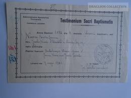 ZA187.6 Old Document  Ticino Locarno - Switzerland - Nicova - Chiara  1941 - Naissance & Baptême