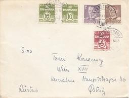 DÄNEMARK 1955 - 5 Fach Frankatur Auf Brief Gel.v. Kopenhagen > Wien - Dänemark
