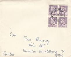 DÄNEMARK 1953 - 4 Fach Frankatur Auf Brief Gel.v. Kopenhagen > Wien - Dänemark