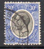 Tanganyika GV 1927-31 30c Bright Blue Definitive, Used, SG 98a (BA) - Tanganyika (...-1932)
