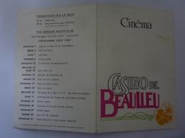 """Pieghevole """"CINEMA CASINO DE BEAULIEAU Programme Aout 1986"""" - Programmi"""