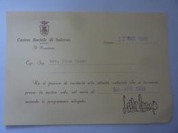 """Cartoncino Invito """"Casino Sociale Di Salerno"""" 22 Marzo 1993 - Partecipazioni"""