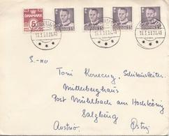 DÄNEMARK 1953 - 5 Fach Frankatur Auf Brief Gel.v. Frederikshorn? > Mühlbach Am Hochkönig - Dänemark
