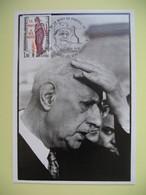 Carte 1985  Charles De Gaulle Cachet Colombey Les Deux Eglises - Personnages