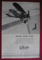 ORIGINAL 1938 MAGAZINE ADVERT FOR GLOSTER METEOR AIRCRAFT-WINGS OVER SUEZ - Other