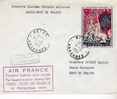 PREMIERE LIAISON PARIS / FORT DE FRANCE / BOEING 707 / 1964 - Poste Aérienne