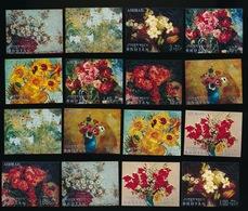 BHUTAN    16 FLOWERS  PAINTINGS - Bhoutan