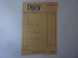 "Fattura ""LIBRAIRIE PAYOT 2 Sept. '64"" - Francia"