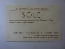 """Cartoncino Da Visita """"ALBERGO AUTORIMESSA SOLE Roma"""" Anni '60 - Cartoncini Da Visita"""