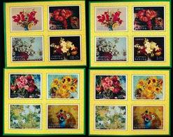 BHUTAN    4 X FLOWERS  PAINTINGS - Bhoutan