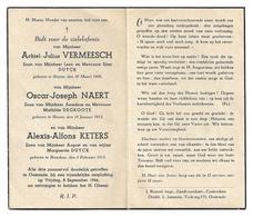 Oorlogsslachtoffers Oostende  8/09/44  *  Vermeesch Achiel - Naert Oscar - Keters Alexis / °Steene, Bredene - Religion & Esotérisme