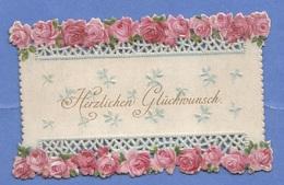 Kleine Glückwunsch-Prägekarteum 1890 - Feiern & Feste