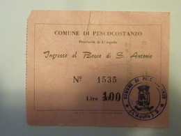 """Biglietto """"COMUNE DI PESCOCOSTANZO Ingresso Al Bosco Di S. Antonio"""" - Tickets D'entrée"""