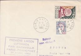 PREMIERE LIAISON / PARIS / FRANCFORT 1962 / NON RECLAME - Poste Aérienne