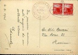 43842 Italia,circuled Card  1946 With Postmark Pontificia Commissione Assistenza,treno Ospedale P.1,milano - Medicine