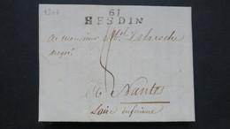 Lettre Avec Texte De Auchy Près Hesdin 1806 Marque Linéaire 61 HESDIN Pour Nantes - 1801-1848: Précurseurs XIX