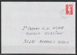 YT 2614 L 2,30F Rouge Marianne De Briat Issu De Carnet Fermé, Cachet Tireté Chèques Postaux DIJ CF Du 17.07.91, R - 1989-96 Marianne Du Bicentenaire