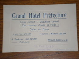 Carte De Visite Grand Hotel Préfecture à Marseille - Visiting Cards