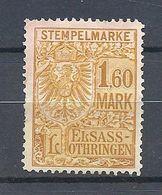 Fiscaux : Alsace-Lorraine 1,60 M Neuf Sans Gomme - Revenue Stamps