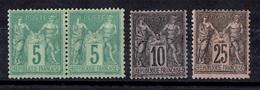 France Sage YT N° 75 En Paire, N° 89 Et N° 97 Neufs ** MNH. Très Frais, TB. A Saisir! - 1876-1898 Sage (Type II)