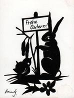 Carte Découpage à La Main Signée Homdy, Silhouette Et Ombre Chinoise De Pâques - Lapin & Poussin - Frohe Ostern ! - Silhouettes
