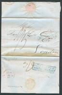 FRANCE. 1827. Le Havre - UK. EL Reverse Blue Ship Letter Southampton (xx). 1sh 5d Maritime Charge. - France