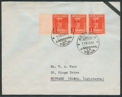 ANDORRA. 1955 (17 Nov). A La Vieja - UK. Tarifa 3 Ptas. Precioso Franqueo 1 Pta Tira 3. - Non Classés