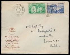 ANDORRA. 1950 (4 Sept). Of Francesa. A La Vielle - GB. Sobre Hotel Valira. MB. - Non Classés