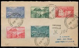 ANDORRA. 1947 (19 Julio). Of Francesa. A La Vielle - USA. Sobre Cert Con Llegada Franqueo Multiple. - Non Classés