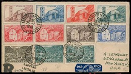 ANDORRA. 1948 (25 Feb). Of Francesa. A La Vielle - USA. Sobre Cert Via Aerea Franqueo Mutliple Con Llegada. Prec. - Timbres