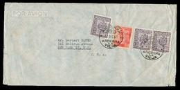 ANDORRA. 1950 (17 Dic). A La Vieja - USA. Via Aerea Tarifa 8ptas 5c Incl Sello Franco España 4ptas Mixto. - Timbres