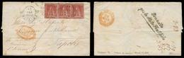 ITALIAN STATES - Tuscany. 1855 (17 March). Firenze - Napoli. E. Fkd 1 Grazia Strip Pf Three V Good Condition, Tied Cds. - Italy