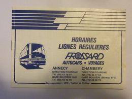 """Libretto """"HORAIRES  LIGNES REGULAIRES FROSSARD Annecy - Chambery"""" Anni '80 - Europe"""