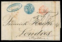 ITALY Lombardy - Venetia. 1848 (5 Dec). Milano To London. Bearing Senders Cachet In Blue Double Oval Azimonti C Milano W - Italy
